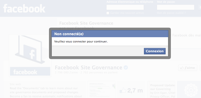 Facebook connexion modal window