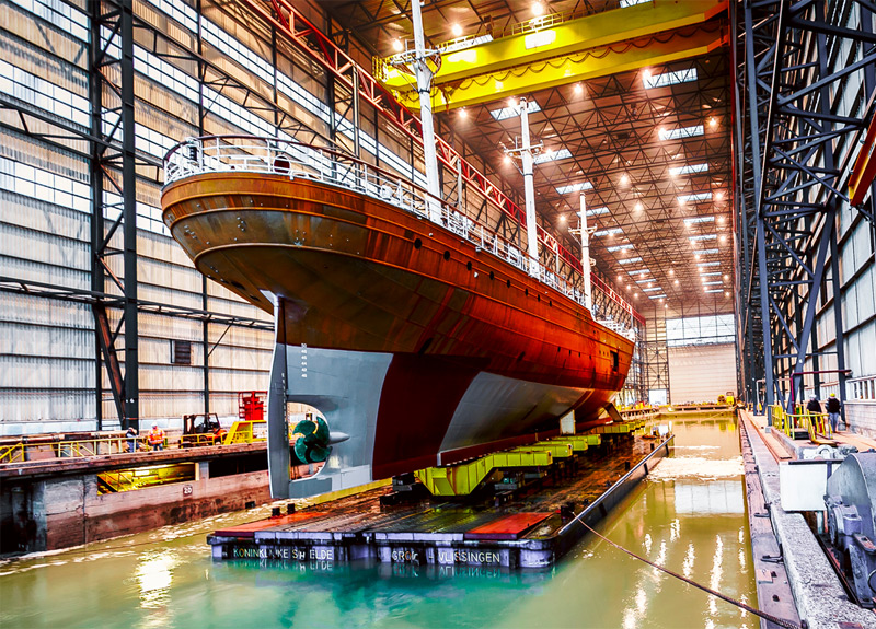 The three-masted, steel-hulled Clipper 'Stad Amsterdam' undergoes a complete overhaul at Damen Shiprepair Vlissingen, the Netherlands.