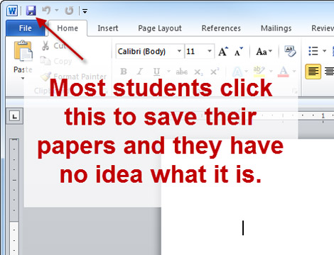 Most students click this to save their papers and they have no idea what it is.