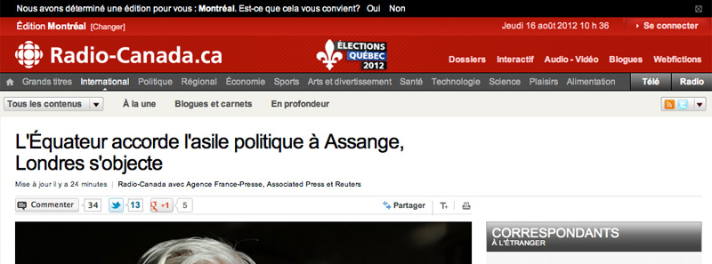 L'Équateur accorde l'asile politique à Assange, Londres s'objecte