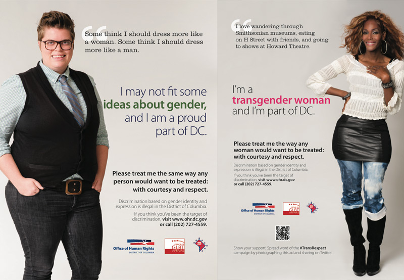 District of Columbia government launches Trans* Respect ad campaign.